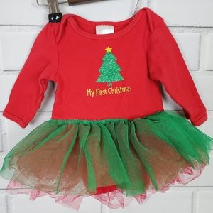 Baby's First Christmas Green Red Onsie Tutu 3-6 M